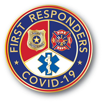 Stock Covid-19 Lapel Pin – First Responders Design #CV104