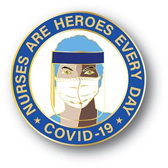 Stock Covid-19 Lapel Pin – Nurses are Heroes Design #CV105