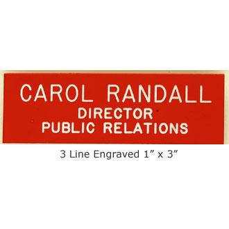 Engraved Name Bar Badge #3LN
