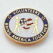 Stock Volunteer Lapel Pin – Flag and Heart Design #CL-11