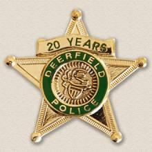 Deerfield Police years service Lapel Pin #3009