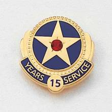 Stock Years of Service Pin – Star and Gemstone Design #622