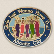 Custom Special Event Lapel Pin – Women at the Beach Design #8025