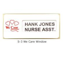 We Care Window Name Badge #S-3
