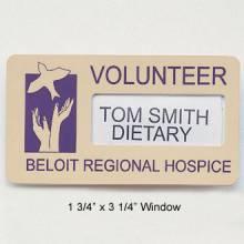Custom Name Badge with Window #W-2