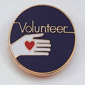 Stock Volunteer Lapel Pin – Hand and Heart Design #155