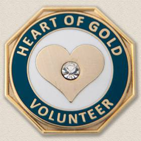 Custom Volunteer Pin – Heart Design #5013