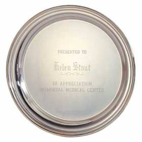 "Custom Engraved Silver Tray – 10"" Design #P-300-B"